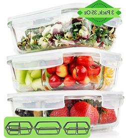1 & 2 & 3 Compartment Glass Meal Prep Containers  - Glass Lu