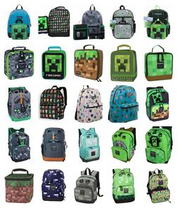 """Minecraft 17"""" Backpack OR 16"""" 5 PC Set OR Lunch Bag Box Char"""