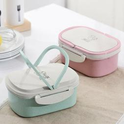 2 Tier Lunch box Wheat Straw Microwave Bento Lunch Box Food