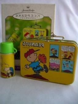 2000 Hallmark Ornament Peanuts Lunch Box Set of 2 Ornaments,