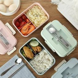 2019 3 Compartments Lunch Box Food Container Bento Storage B