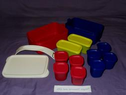 Tupperware 25 piece bento picnic lunch boxes set carry handl