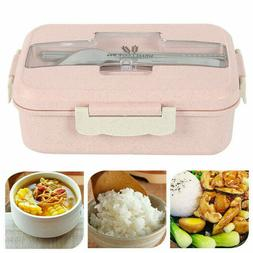 3 Compartments Lunch Box Food Container Set Bento Storage Bo