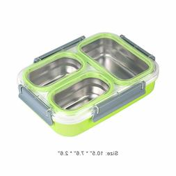 3 Compartments Stainless Steel Lunch Box Bento Food Storage