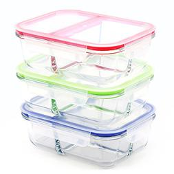 RENPHO  Glass Meal Prep Containers 3 Compartment - Bento Box