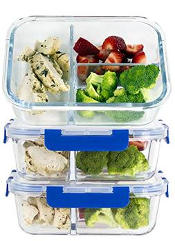 LARGE Premium 3 Sets 3 Compartment Glass Meal Prep Containe