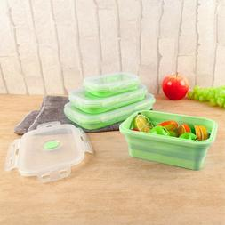 3pcs Silicone Food Lunch Box Bowl Bento Boxes Folding Collap