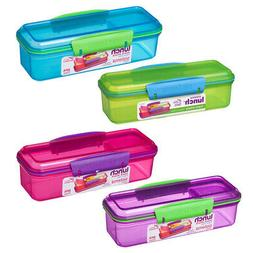 4 Sistema 410ml Snack Boxes Blue Green Purple Pink School Wo