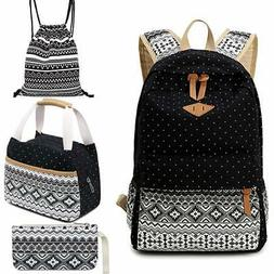4pcs School Backpack Set for Girls Boys Canvas Backpacks Tee