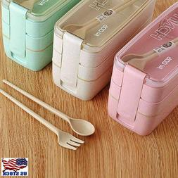 Healthy Material Lunch Box 3 Layer Wheat Bento Boxes Microwa