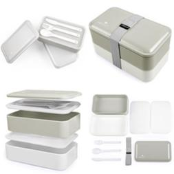 Cool Gray Bento Box - Multi-Compartment Bento Lunch Box with