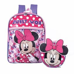 Disney Minnie Mouse Girls School Backpack Lunch Box Book Bag