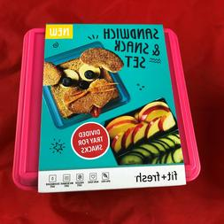 Fit & Fresh Divided Lunch Pack Carrier, Reusable Food Contai