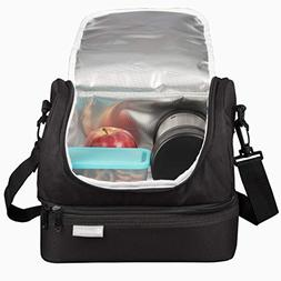 LAPTOP LUNCH Dual Tote Black and Blue, 1 Each