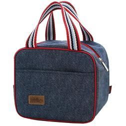 Portable Denim Lunch Bag Cooler Picnic Camping Food Boxes Wo