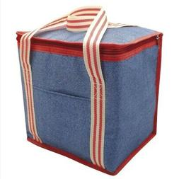 Alfresco Denim Striped Insulated Large Cooler Bag 12l Lunch