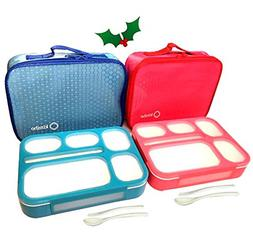 Bento-Box with Insulated Lunch Bag Set. 2 Lunch-Boxes for Ki