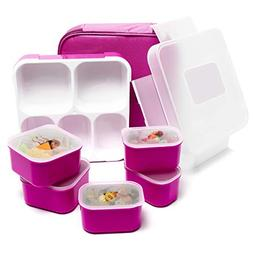 Fun Life Bento Lunch Box, 5 Compartment Insulated Leakproof