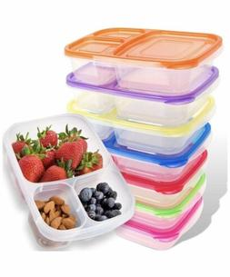 Bento Lunch Box Meal Prep Containers 7 Pack Reusable 3-Compa
