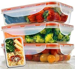 Bento Lunch Box 3pcs set 24oz - Meal Prep Containers Microwa