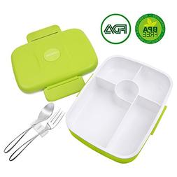 Bento Lunch Box For Kids Adults W/5 Compartment, Leakproof,