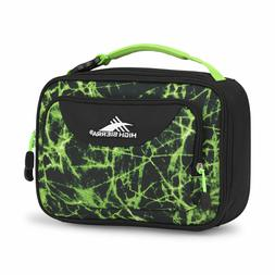 black and green single compartment lunch bag