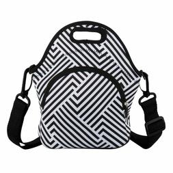 Black  White Geometric Lines Lunch Bags Neoprene Lunch Boxes