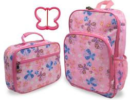 Keeli Kids Butterfly Girls Backpack and Lunch Box Set in Pin