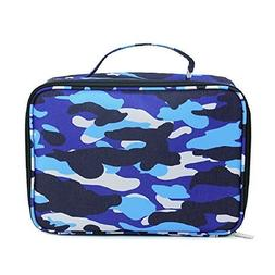 Camouflage Blue Grey 10.5 x 17 Inch Polyester Insulated Lunc