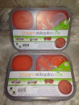 Smart Planet Collapsible Eco Meal Kit Lot Large Orange Lunch