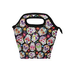 ALIREA Day Of The Dead Sugar Skull Lunch Tote Bag Insulated