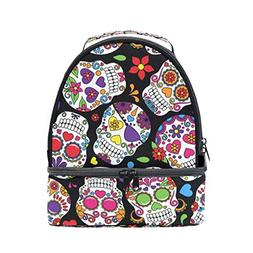 ALIREA Day Of The Dead Sugar Skull Lunch Bag Dual Deck Insul