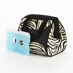 Fit & Fresh Downtown Insulated Designer Lunch Bag, Zebra, 9x