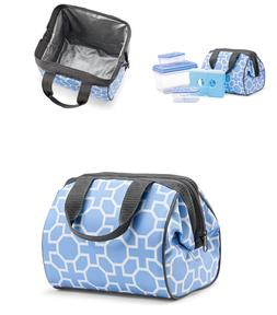 Fit & Fresh Charlotte Lunch Bag Kit - Periwinkle Geo - 5 Pie