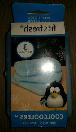 Fit & Fresh Cool Coolers Set of 3 Slim Refreezable Ice Packs