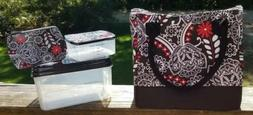 Fit Fresh paisley Insulated Lunchbox adult child red black w