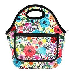 MangGou Floral Pattern Lunch Bags with Side Pocket Zipper Cl