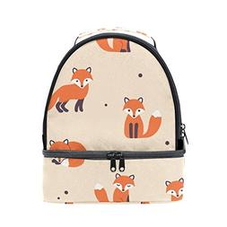 ALIREA Fox Pattern Lunch Bag Dual Deck Insulated Lunch Coole