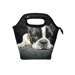 Naanle French Bulldog Insulated Zipper Lunch Bag Cooler Tote