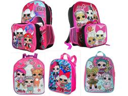 LOL Surprise Girls School Backpack Book bag Lunch box Toy Gi