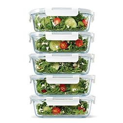 Fit & Fresh Glass Containers, Set of 5 Containers with Locki