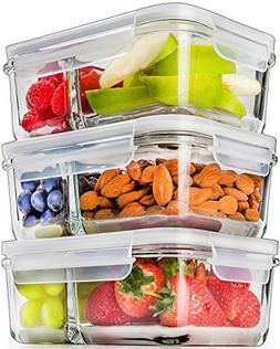 Glass Meal Prep Containers Glass 2 Compartment - Glass Food