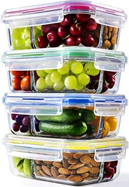 Glass Meal Prep Containers - 4-Pack 35 Oz. 3 Compartment Ben