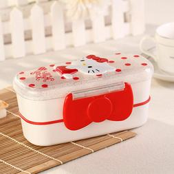 Hello Kitty Outside Double-Deck BENTO Lunch Box Sandwich Box