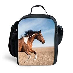 Amzbeauty Horse Lunch Bag for Kids Insulated Freezable Therm
