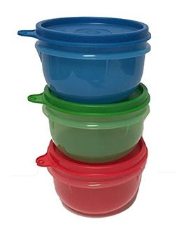 Tupperware Ideal Little Bowl Set of 3 in Green, Red, Blue
