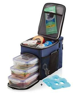 Insulated 3 Compartment Travel Lunch Box with Containers Blu