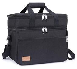 Insulated Dual Compartment Lunch Bag Leakproof Lunch Box Coo