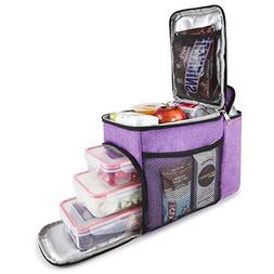 Insulated Lunch Bag Drink Cooler Compartment + 3 Plastic Foo