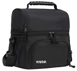 MIER Insulated Lunch Bag Tote for Women Men Kids 2 Compartme